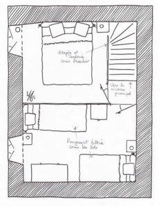 Location d'un gîte avec 2 chambres, belles boiseries