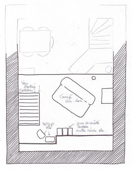 Plan de la mezzanine dans notre gite rural à Appy en Ariège pyrénées
